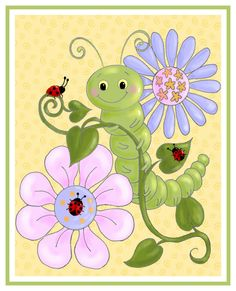 Caterpillar And Ladybugs Art Print Childrens Wall Nursery Decor Kids Insect Pictures Baby Girl Room 8x10