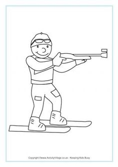 Biathlon Colouring Page - Winter Olympic coloring pages