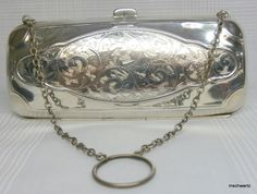 Antique English Samuel M. Levi 1919 Engraved Sterling Silver Clutch Purse Handbag