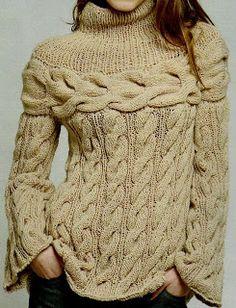 Patrones De Tejido Gratis - Chunky cream cabled sweater w/ round yoke Pull Torsadé, Knitting Patterns, Crochet Patterns, Cable Sweater, Cable Knit, Knitting Designs, Crochet Clothes, Pulls, Hand Knitting