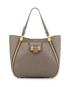 V2XFV TOM FORD Sedgewick Small Zip Tote Bag, Dark Gray