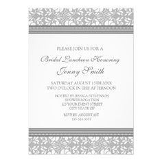 DealsGray Damask Bridal Lunch Invitation Cardstoday price drop and special promotion. Get The best buy