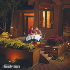Plan and install a low-voltage lighting system to light up your deck. No electrical skills needed; you simply plug the system into an existing outlet. It'll highlight deck features without glare and is safe and easy to install.