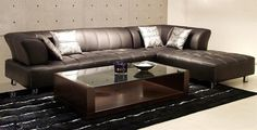Minimalist Leather Sectional Sofa Bed for Small Space