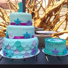 Mermaid theme first birthday party cake with matching smash cake made by Pastelbyjackie Oxnard California
