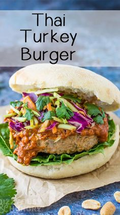 Thai Turkey Burgers - How to make a Turkey Burger with Thai flavors and topped with red cabbage coleslaw - Burger Toppings, Turkey Burger Recipes, Ground Turkey Recipes, Healthy Turkey Burgers, Ground Turkey Burgers, Thai Recipes, Baby Food Recipes, Avocado Recipes, Good Healthy Recipes