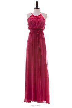 Halter Silk Chiffon Gown with Shirred Bodice $124.98