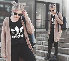 Get this look: http://lb.nu/look/8149133  More looks by Sarianna V: http://lb.nu/sarianna  Items in this look:  Matt & Nat Brave Backpack, Adidas Boyfriend Trefoil T Shirt, Dr. Martens Black Docs, Ray Ban Clubmaster Sunglasses   #casual #edgy #street