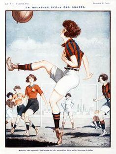 Nouvelle Ecole Des Graces, French 1920s illustration, the Queen of Balls becomes Queen of the Football    'Autrefois, elle aspiraient a etre la reine des bals; aujourd'hui, il leur suffit d'etre reine du ballon'