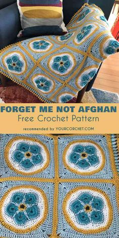 Forget Me Not Afghan Free Crochet Pattern and Video Tutorial #freecrochetpatterns #crochetblanket #crochetflowers