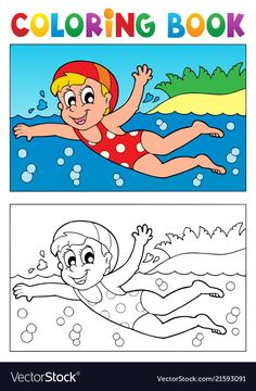 Illustration of Coloring book swimming theme vector art, clipart and stock vectors. Easy Drawings For Kids, Drawing For Kids, Painting For Kids, My Drawings, Swimming Cartoon, Kids Swimming, Colouring Pages, Coloring Pages For Kids, Coloring Books