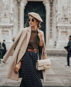 60629071715 Dark Brown Lense Sunglasses +Brown Tone Knit Sweater + Beige P-Coat + Beret  + Blue Polka Dot Long Skirt + Brown and Gold Gucci Belt