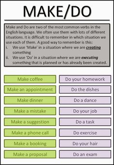 Make/Do #esl #tefl #learnenglish