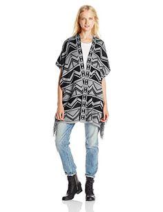 9834eb4342 Derek Heart Juniors' Aztec Elbow-Sleeve Open-Front Printed Sweater - Shop  for women's Sweater - Black Sweater