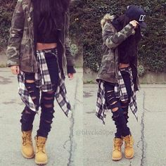 Black Pants with Black Shirt and Camo Jacket with Timberlands and Plaid Shirt on waist Dope Fashion, Tomboy Fashion, Fashion Killa, Urban Fashion, Teen Fashion, Fashion Outfits, Womens Fashion, Fashion Pants, Swag Fashion
