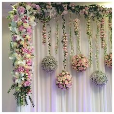 Hanging flower balls with a solid flower edging stage backdrop Marriage Decoration, Wedding Stage Decorations, Engagement Decorations, Backdrop Decorations, Bridal Shower Decorations, Flower Decorations, Backdrops, Floral Backdrop, Paper Flower Backdrop