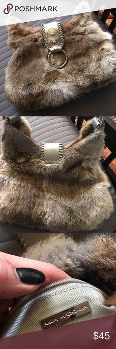 Aqua Madonna fur purse-multi color Beautiful fur purse-used once! Multicolor. Silver tone hardware and leather. Aqua Madonna  Bags Shoulder Bags