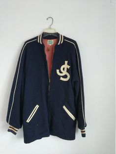 733879c8d31e30 Wool Jacket Vintage Letterman Coat Preppy College Jacket