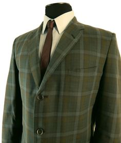 Vintage 1960s Palm Beach Plaid Sport Coat.  Zephyr Weight.  Sack Cut. Narrow Lapels. Quarter Lined. 44