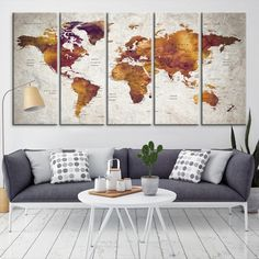 27825 - Large Wall Art World Map Canvas Print- Custom World Map Push Pin Wall Art- Custom World Map Canvas Poster Print- Personalized Wall Art