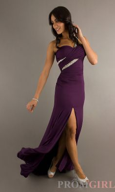 One Shoulder Long Purple Prom Dress, One Shoulder Gowns- PromGirl