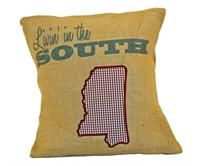 Livin' In The South Burlap Pillow Maroon and White