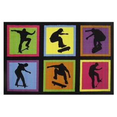 Skateboarding Fun Black Accent Rug (3'3 x 4'8) (39 inch x 58 inch), Size 3' x 5' (Nylon, Graphic)