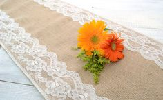 """Wedding Table Runner - 14"""" x 108"""" Burlap and Ivory Lace"""