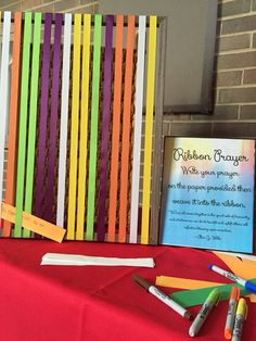 Ribbons Prayer Station. I bought a frame and took the glass out. Got ribbon on sale - same width/various colors. Just hot glued pieces on the top and bottom of the frame with same space in between. Be sure to glue them on and stretch them very tight.