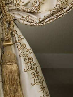 Elegant Classic drapes with gold embellished edge and gold tie back tassel. #TraditionalDecorating, Designer unknown. Found on   ZsaZsa Bellagio