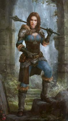 Ala in Ered Luin spassundspiele:Warrior Girl – fantasy character concept by Andrey Vasilchenko Chica Fantasy, 3d Fantasy, Fantasy Armor, Fantasy Women, Medieval Fantasy, Fantasy Girl, Fantasy Fighter, Inspiration Drawing, Character Inspiration