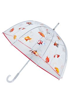 Big Fish Umbrella - White, Red, Orange, Yellow, Pink, Brown, Black, Print with Animals, Casual, Spring, Fall, Winter