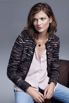 Short jacket in multicolored bouclé yarn with mohair content & glittery thread. Imitation leather trim at front and at neckline. | Warm in H&M