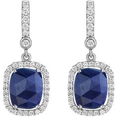 Penny Preville 18k White Gold Diamond & Sapphire Drop Earrings (64 450 UAH) ❤ liked on Polyvore featuring jewelry, earrings, white gold diamond earrings, 18k diamond earrings, cushion cut earrings, white gold sapphire earrings and diamond earrings