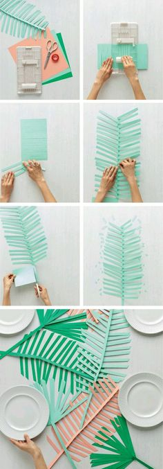 The best DIY projects & DIY ideas and tutorials: sewing, paper craft, DIY. Diy Crafts Ideas DIY paper palm leaf runner from Martha Stewart Crafts -Read Kids Crafts, Diy And Crafts, Craft Projects, Paper Crafts, Tree Crafts, Kids Diy, Diy Flowers, Paper Flowers, Ideas Party