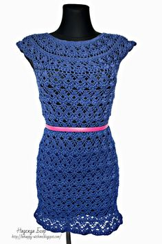 Blue Motif Dress free crochet graph pattern