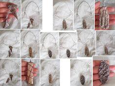 Materiale collane: filo metallico e corda di cotone cerato a seconda del modello, minuteria merallica. Materiale ciondoli (a seconda del modello): pagine sovrapposte, smalti, cabochon, swarovski sintetici, cartapesta modellata, fili metallici. Le collane presenti nelle foto sono sempre le stesse (5 o 6): mostro come ogni ciondolo più andare con ciascuna.