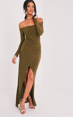 Khaki Slinky Wrap Bardot Maxi DressChannel a grecian inspired look in this utterly glamourous, sl...