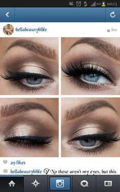 Makeup ideas for cobalt blue dress with gold embellishment. | Beautylish
