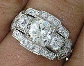 Vintage Diamond Ring~3-Stone Diamond Ring~Art Deco Era, circa 1930~ctr 1.03