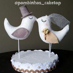 Topo de bolo Cartola e Buquê | Pombinhos Cake Top | Elo7