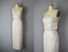 Vintage 50s Dress // 1950s Richard Cole Silver Silk Brocade Evening Gown // Small by OffBroadwayVintage on Etsy