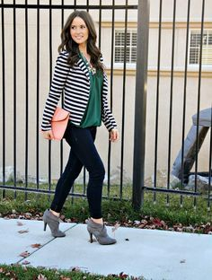 Striped blazer (own), grey booties, emerald green top (own) Striped Blazer Outfit, Striped Jacket, Blazer Outfits, Casual Outfits, Cute Outfits, Casual Clothes, Pants Outfit, Work Outfits, Fall Winter Outfits
