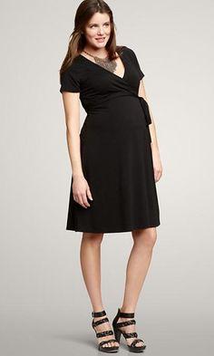 Black Gap Maternity `Casual Wrap Dress (Very Good Condition - Size Medium) - Motherhood Closet - Maternity Consignment