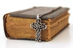 """Silver Cross Necklace, Chainmaille Pendant on 20"""" Chain - Oxidized Argentium Sterling - Original Design. $175.00, via Etsy."""