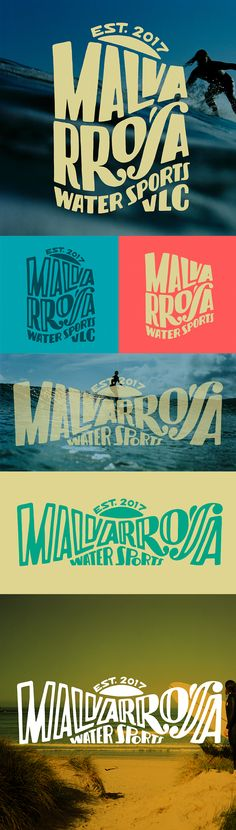 "Identity for ""Malvarrosa Water Sports"" a surf school placed at Malvarrosa beach in Valencia. By Lawerta"
