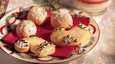 'Tis the season for cookie making.  Get in the spirit with these festive peppermint cookies that look like mint-snowballs.