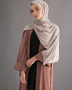 COMING SOON - A timeless and modern versatile abaya. Can be styled open or closed with belt. Mocha Open Front Abaya Oatmeal Rayon Blend Jersey Hijab www.inayah.co