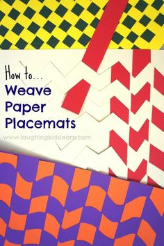 Most current Snap Shots paper weaving projects Style How to make paper weaving placemats – Laughing Kids Learn Crafts To Do, Crafts For Kids, Arts And Crafts, Paper Crafts, Paper Weaving, Weaving Projects, Art Classroom, How To Make Paper, Art Activities