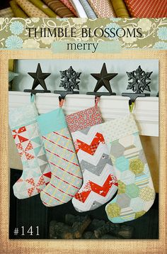 quilted christmas stocking pattern by thimble blossoms